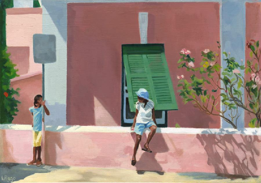 Casting. This is a series of six paintings that celebrate my most award-winning work, that has been successfully juried by museum curators for the Bermuda Biennial. This painting shows two sisters waiting for a bus in front of an old Bermuda cottage. Posters are available in open or limited edition (/300). For canvas giclees a transparent brushwork medium can be applied to obtain the surface quality of my original oils.