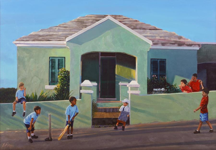 Cup Match. This painting follows the study called, `Afternoon Shadows`, depicting seven boys playing cricket in the colors of either Somerset or St. George`s. `Cup Match` is a huge holiday here in Bermuda celebrating Emancipation Day when one side of the island plays against the other in a 2-day cricket tournament.