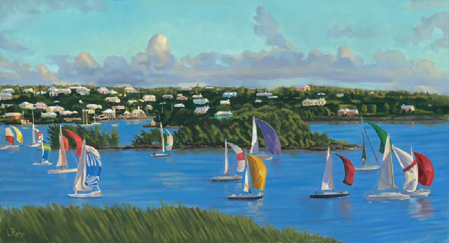 Downwind on Turquoise. This painting depicts a local weekly sailing race that starts from Hamilton and ends in Dockyard. The vast array of colourful spinakers make for a very vibrant painting.Edition size 100