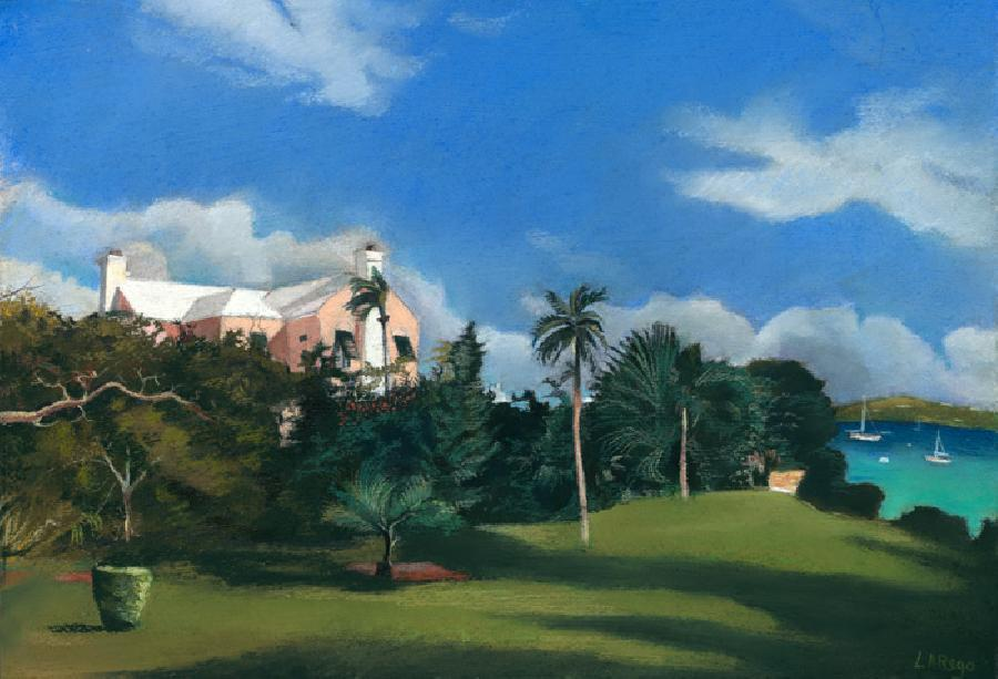 Fairylands View. This is an early pastel study of a beautiful home in Fairyland`s Bermuda. Thsi idyllic neighbourhood overlooks Hamilton Harbour and is very secluded.