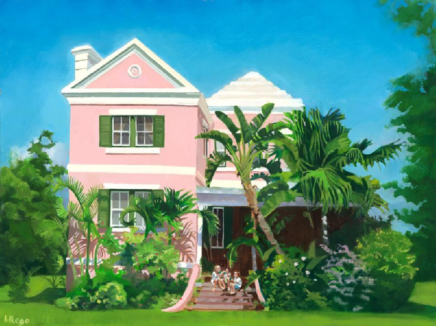 Glenola. This is a commisioned work showing a traditional Bermuda home amidst a lush garden with 3 sisters playing cards on the entrance steps. Careful attention was paid to architectural accuracy and late afternoon light. Available as a limited edition giclee or double-matted small print.Editon size 100. This work also suits a brushwork medium effect.