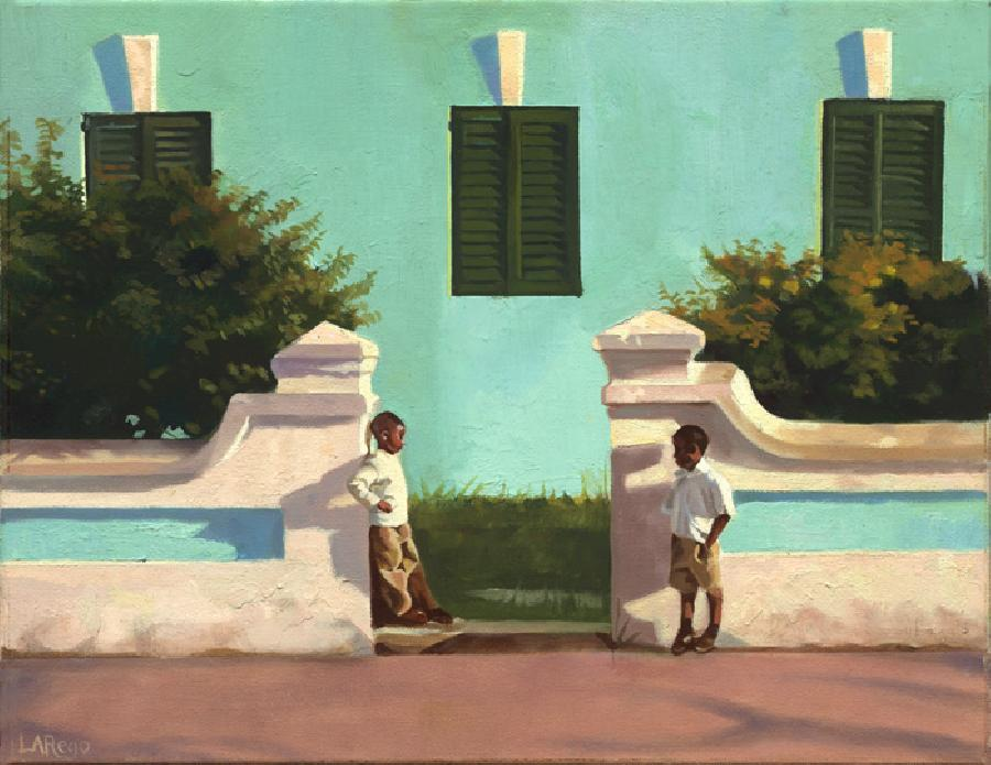 Green Harmony. This painting depicts two local schoolboys in uniform in a discussion. The building behind them is a derilect building that was by nature extremely `painterly`. I thoroughly enjoyed painting this work at is was considered my strongest entry for the 2006 Bermuda National Gallery Biennial. Edition size 100. Highly collectible piece, based on the fact it is a signature work since it ushered into Lisa-Anne`s folio a more `painterly` approach to her favourite theme: children and buildings.
