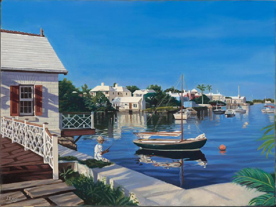 Harbourfront. This painting is by far my strongest scenic paintings of Bermuda. It reflects my love for Bermudian architecture undergoing dramatic lighting effects. The composition is very tranquil and yet the water appears to be moving and `dynamic`. I enjoyed painting the reflections in the water tremendously.