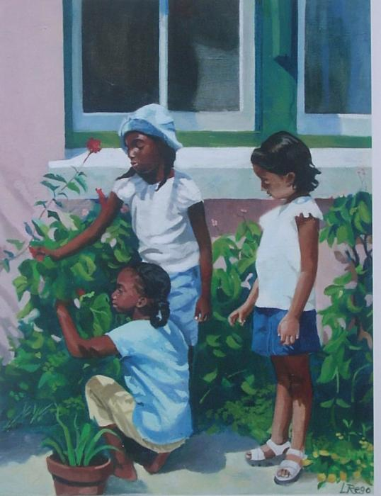 Harvesting. This is an early oil painting of my favourite motif: local children against colourful Bermuda walls. This inter-racial grouping is so typical for Bermuda and makes for an interesting narrative painting. Available as an 11 x14 double-matted lithographic print at $35 or as a collectible limited edition giclee(on archival paper or canvas) made any size. Edition only 100 for each size.