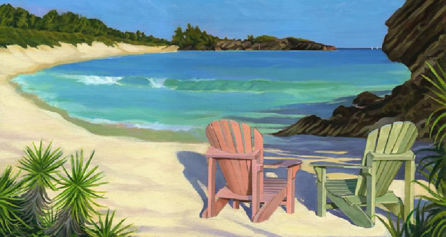 Horseshoe Chairs - Version 2. An oil painting of Bermuda`s Horseshoe Bay captured in late afternoon with two Adorondack chairs. Available as a canvas giclee in various sizes and also in a cropped panoramic format also (see additonal image). Edition size 100. Can be made any size and hand-finished in oils for an additional charge. available in 11 x 14` double-matted paper prints and also as an open /limited edition poster.