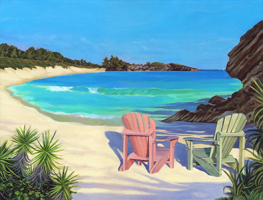 Horseshoe Chairs. This is an oil painting of Bermuda`s Horseshoe Bay painted with two Adorondack chairs. It is available in its original proportion and also as a very pleasing cropped panoramic format (see sdditonal image). The giclee process captures Lisa-Anne` vibrant blues very well. Edition size 100.
