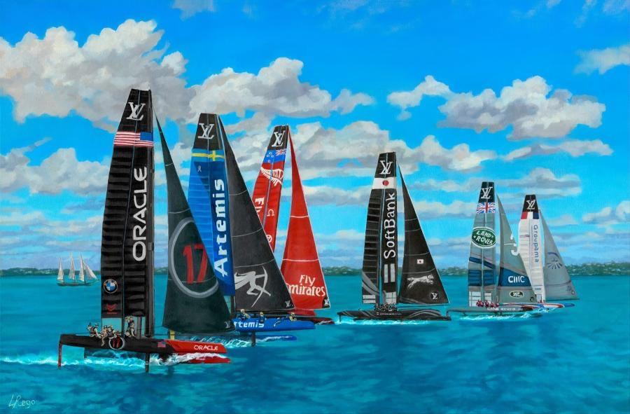 Flight. An eye level view of America`s Cup boats in The Great Sound using drone technology. Officially licensed painting of America`s Cup.