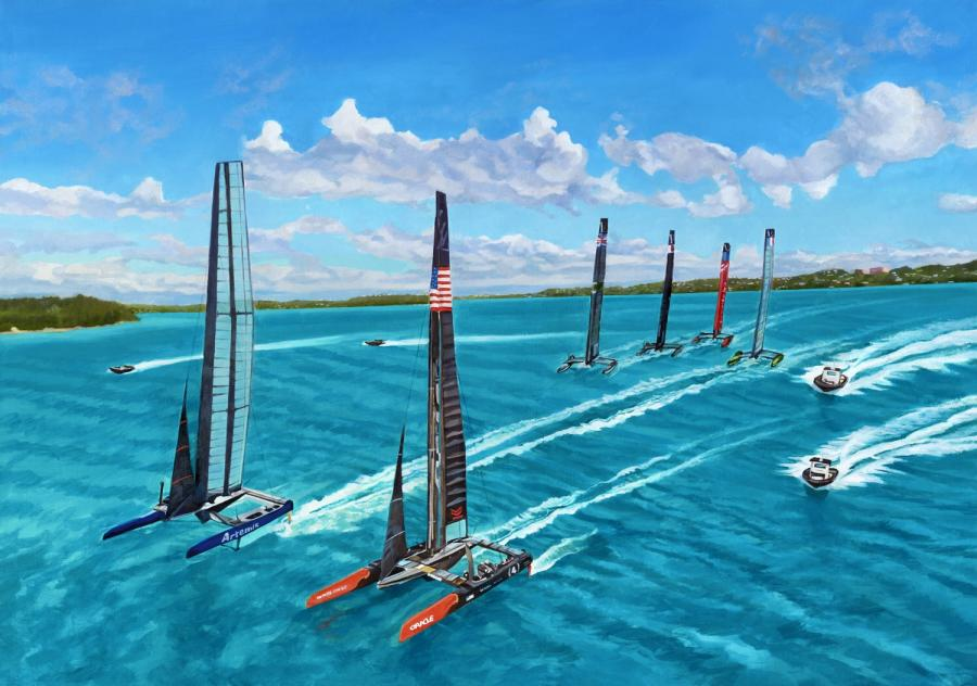 'The Chase'. This painting was shows an aerial perspective of the America`s Cup vessels racing from the air. It will shortly be available as a giclee once licensing obtained with AC Authority. Please email the artist on info@lisarego.bm for more information and to make your interest known for speedy processing of orders following licensing agreement.