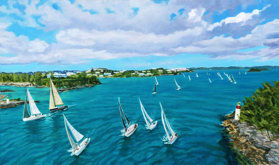Bermuda Aerial over the Great Sound. This is the artist`s most recent oil on canvas depicting the Wednesday Night Race from an aerial perspective. The artist used drone technology above Two Rock passageway to realize her vision. This image serves to celebrate both Bermuda`s rich maritime heritage and stunning natural beauty in readiness for the America`s Cup event in 2017. <br /><br />Original is sized 32` x 19` and is exceptionally detailed and three dimensional. Price on request.