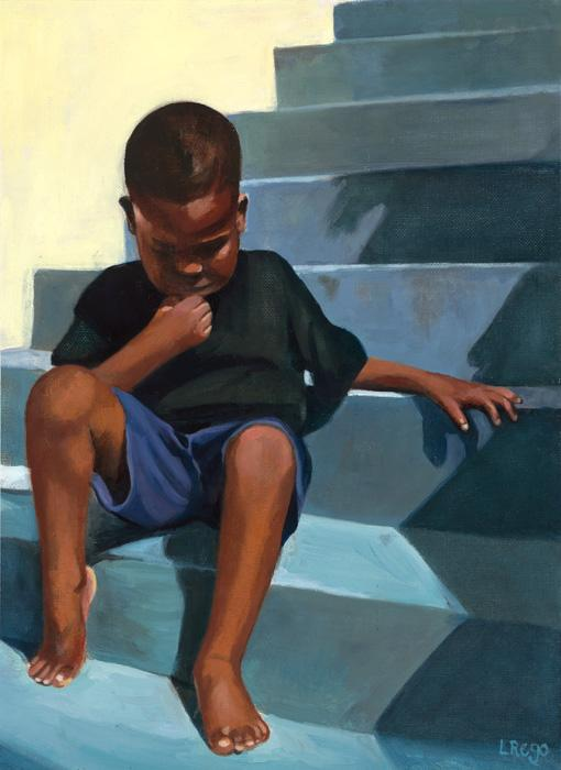 In The Balance. This is an early study that began the artist`s interest in combining warm, smooth skin tones with colourful rought walls. The young subject is in deep thought sitting outside his front porch.