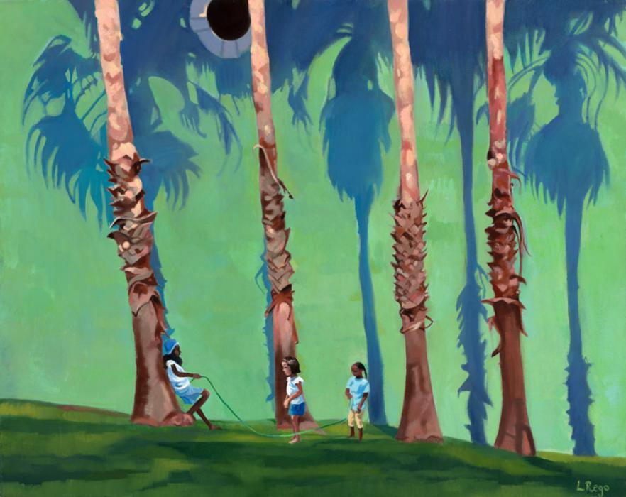 In The Shadows. This is an oil painting showing a group of children situated below a group of tall palm trees in Hamilton. Available as a limited edition - size 100.
