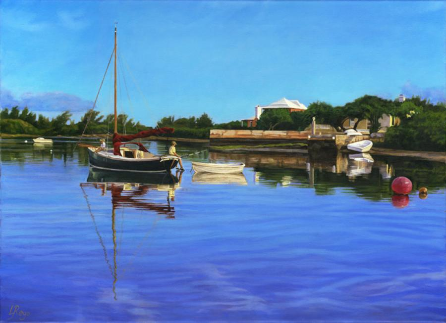 Jew's Bay. This is the artist`s most recent study of Jew`s Bay in Southampton. It depicts two boy`s fishing from an old wooden boat amid amazing `morning reflections`. It make a perfect partner to `Harbourfront` or indeed as a triptych with `Spirit of Bermuda`. All giclees are hand-finished by the artist in oils.