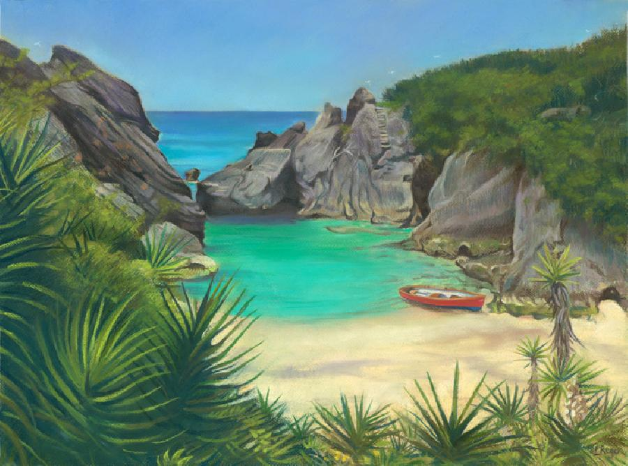 Jobsons Cove. This is a painting of the idyllic cove situated beside Warwick Long Bay, with a red cedar Bermuda dingy as a focal point. The vobrant colours and composition makes it a very successful image indeed.