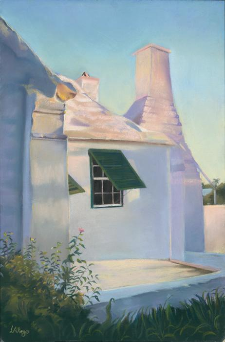 Morning light. This is a pastel study of the artist`s childhood home, which she left at the age of seven and is housed at the Tucker`s Point Club. It is an old Warwick cottage in morning light.