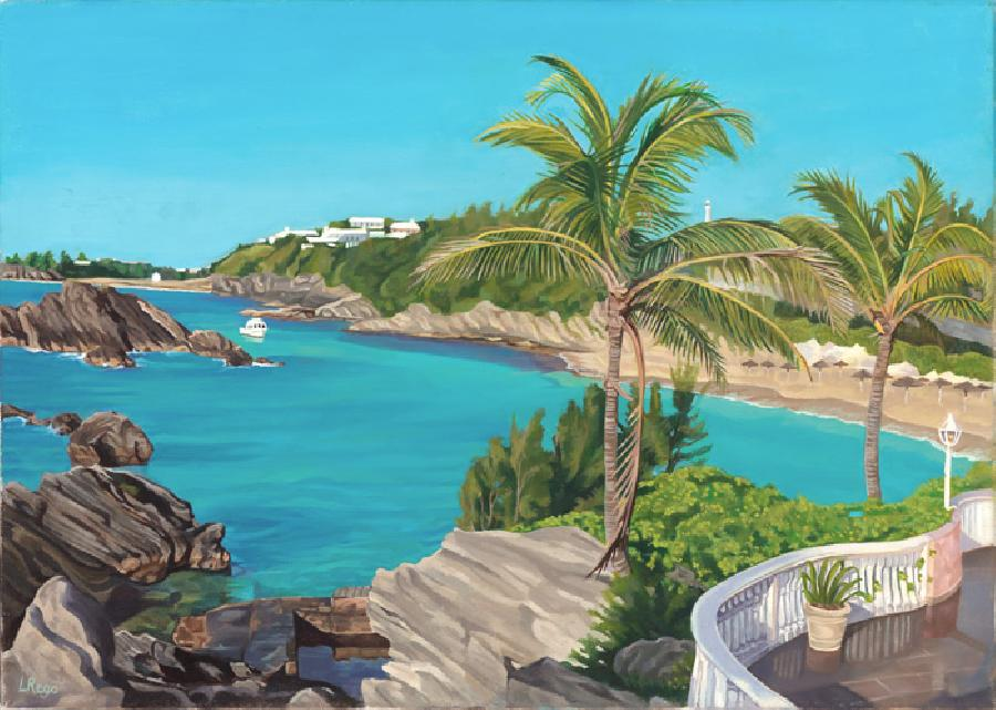 Oceanfront. This is a comissioned work for IBM in 2008 in conjunction with their `Golden Circle` Event, which was held in Bermuda. It depicts an aerial view of the Fairmont Southampton Beach Resort in oils. Edition size 100.