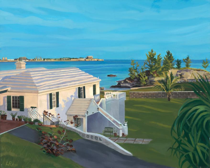 Overlooking Dockyard. This is a commisioned work showing a Spanish Point home overlooking Dockyard in the distance. Careful attention was paid to architectural accuracy and early morning light and shadow effects. Available as a limited edition giclee or double-matted small print.Editon size 100