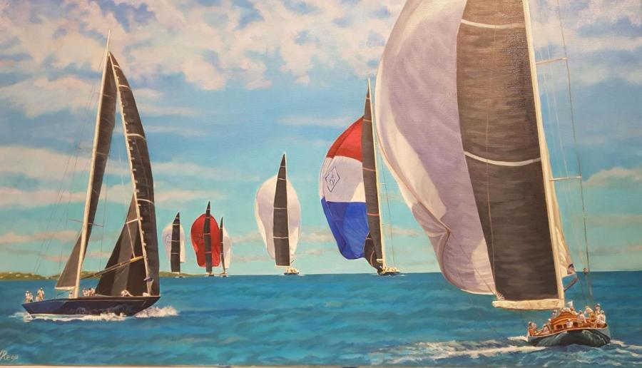 J-Class Yachts - Bermuda. I wanted to create a special farewell to the 35th America`s Cup, showcasing the historic J-Class Yachts. I believe I have! A dynamic work full of colour and detail with all 6 spinnakers set against the cyan blues of Bermuda. *Original Available* Oil on Canvas | Price on Request