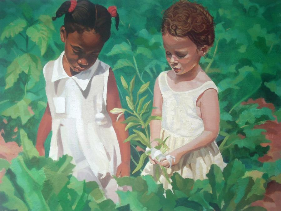 Reverberant Light. This is an early oil painting of my favourite subject: local children in their island setting. This inter-racial grouping is so typical for Bermuda and makes for an interesting narrative painting. Available as an 11 x14 double-matted lithographic print at $35 or as a collectible limited edition giclee(on archival paper or canvas) made any size. Edition only 100 for each size.