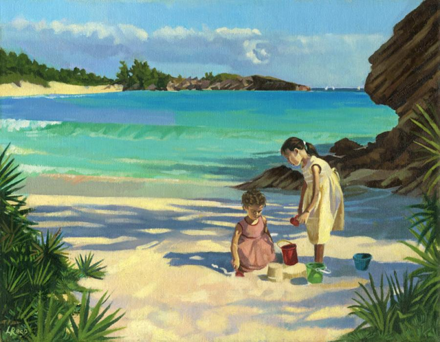 Sandcastles. This is a painting of two sisters building a sandcastle on `Horseshoe Bay` in Bermuda. The older sister is giving strict building guidelines, which are overwhelming the younger sibling. This image looks incredibly vibrant as a giclee on canvas. Edition size 100.