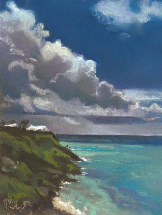 Southshore. This is a very spontaneous study in pastels by the artist of an approaching storm in South Shore. It was one of several studies to be accepted into `Pastel International` in 2001. Edition size 100