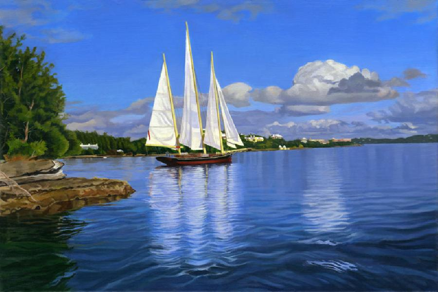 Spirit Of Bermuda. This painting depicts a vessel called the `Spirit of Bermuda` passing through `Two Rock` passageway heading into Hamilton Harbor and is regarded as Lisa-Anne`s strongest scenic view to date - a top gallery seller! It was painted to help celebrate Bermuda`s 400th anniversary as this vessel made history by bringing the Tall Ships from Portugal into Bermuda as part of its celebrations! Giclees can be retouche in oils for an additional charge. Edition size is 100 and closing shortly on smallest size.