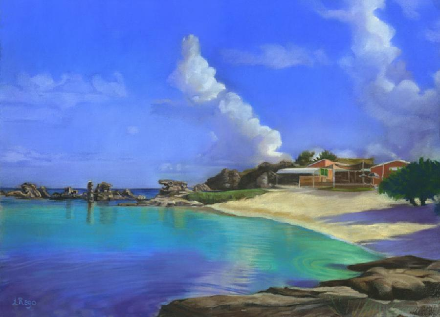 Tobacco Bay. This is a pastel painting of morning clouds passing over Tobacco Bay in St. George`s. The artist is interested in Bermuda`s dramatic cloudscapes as is seen in `South Shore`. It translates well onto canvas (due to varnishing effect on water!) and the more obvious surface of archival paper.