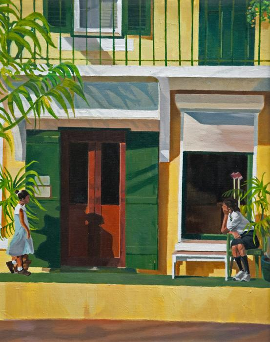 Yellow & green harmony. This is an oil painting depicting a shopfront in oils with 2 youths waiting outside. It was part of a seried of three paintings commissioned for the Renaissance Reinsuraance boardroom in Bermuda. Canvas can be smoothly varnished or a brushwork medium can be applied to create the surface quality of the original.