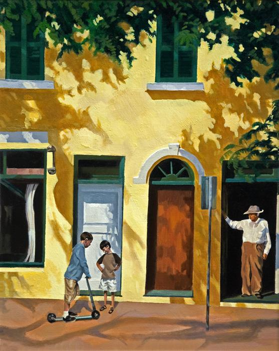 Yellow harmony. This is an oil painting depicting a shopfront in oils with 2 youths waiting outside. It was part of a seried of three paintings commissioned for the Renaissance Reinsuraance boardroom in Bermuda. Canvas can be smoothly varnished or a brushwork medium can be applied to create the surface quality of the original.