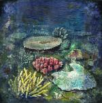 Blue Marine Landscape With Pink Coral