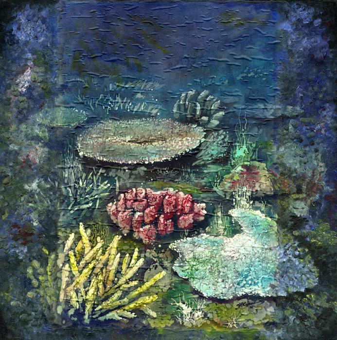 Blue Marine Landscape With Pink Coral.