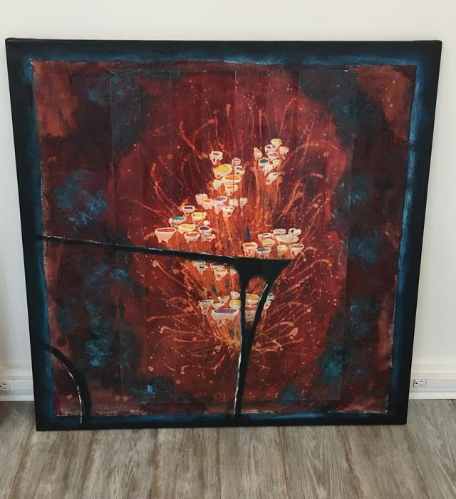 Entangled Flowers 2. <p>36x36 original mixed medium. Mixed medium: collage on canvas, oil, acrylic, paper,&nbsp;batik&nbsp;</p>  <p>This piece is a part of quadruptic entitled `Entangled Flowers`</p>  <p>Available&nbsp;as limited edition giclee prints set in sizes 16x16, 20x20, 30x30, 40x40. Price upon request.</p>