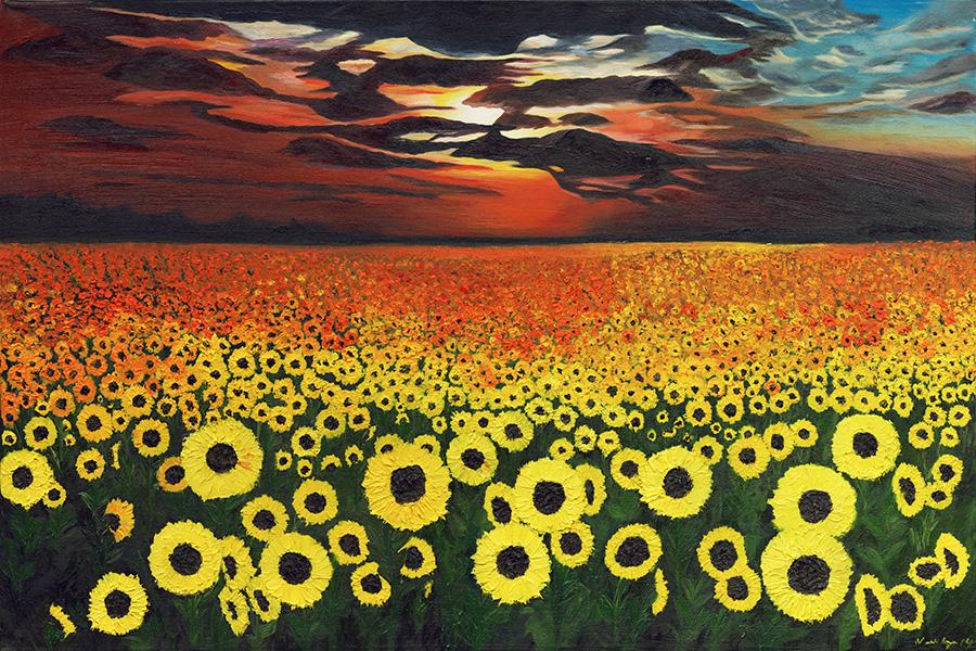 Sunflower Forever. Custom Giclee embellishment is available upon request.