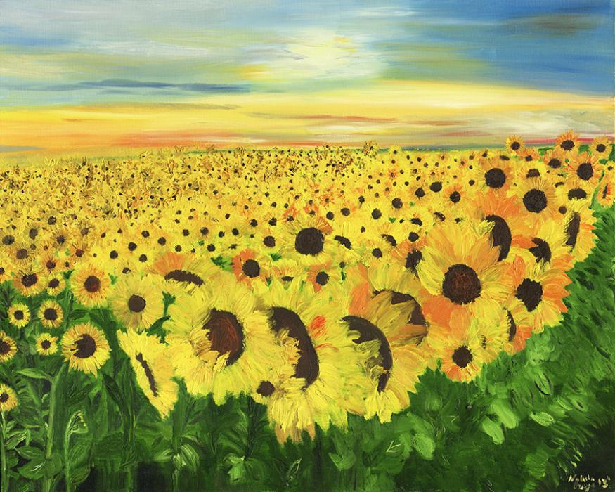Sunflowers. Custom giclee embellishment is available upon request.