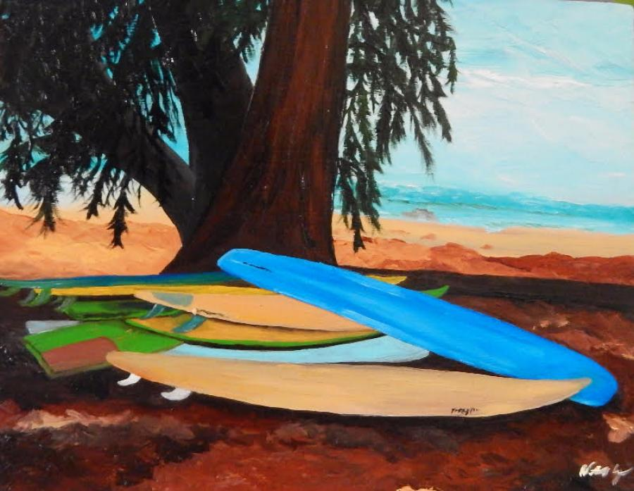 Hawaiian Surfboards. Oil on wooden canvas block, 5x8; 2 inches deep