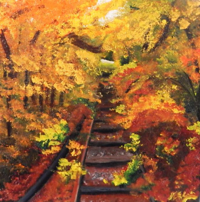 Autumn Tracks. Oil on Wooden Canvas block, 8 x 8; 2 inch deep