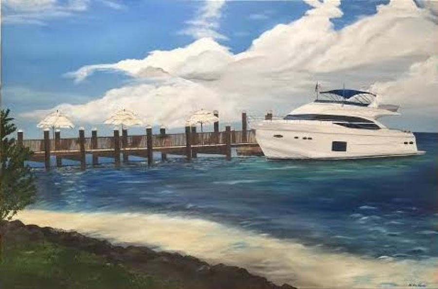 Princess 72 Yacht. 24x36 oil painting commissioned by owner of the yacht