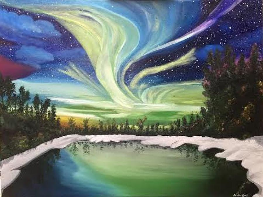 Northern Lights. Northern lights oil commissioned oil painting