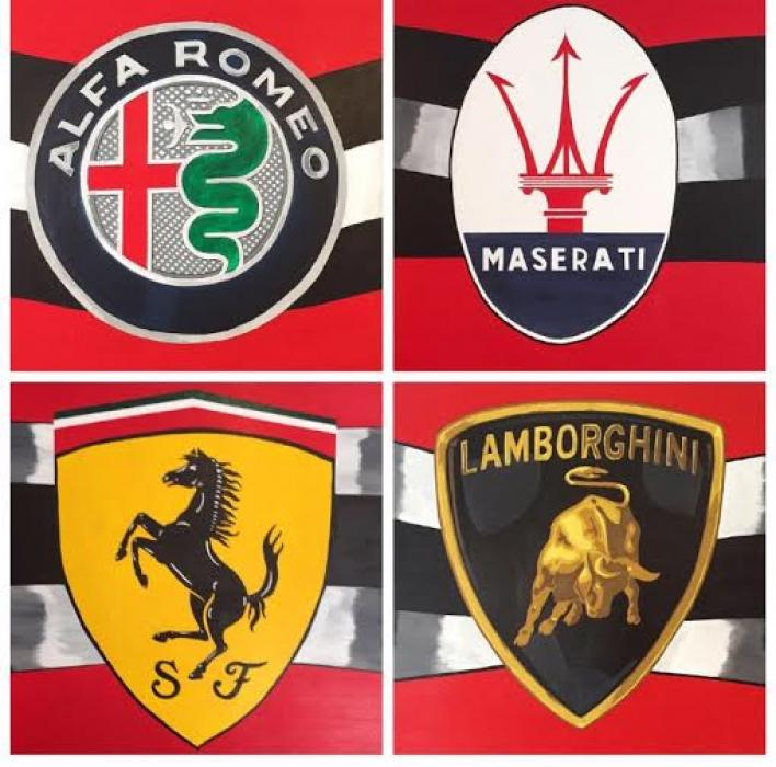 Italian Car Emblems (Wall Mural). These Car emblems were painted with acrylic onto a wall inside a bar. The mural consisted of checkered flag leading into the emblems, all hand painted