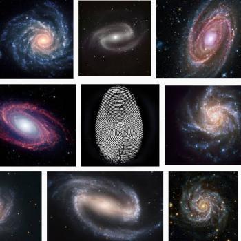 Spiral galaxy and fingerprint