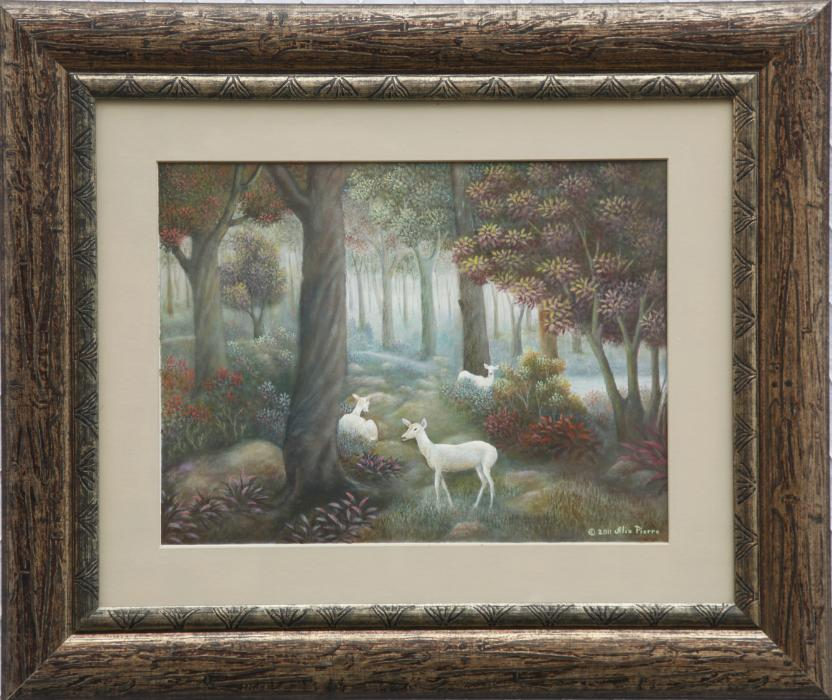 "White Deer Forest (16""x20"") Tempera On Board."