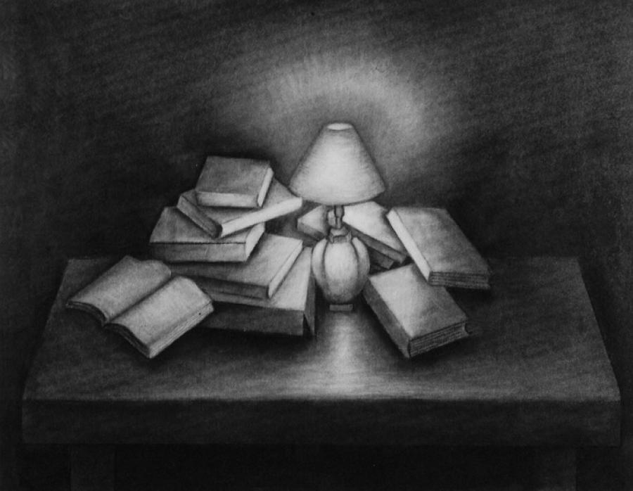 ILLUMINATIVE OBJECTS (18x23) Charcoal on Board (2005).