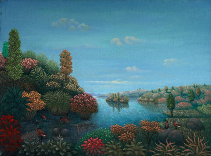 "SANDPIPER'S LAKE (12""x16"") ) Oil on canvas (1990)."