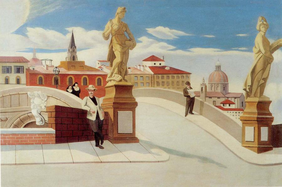 Morning in Florence, 1933. <p style=`text-align: justify;`>&nbsp;&nbsp;&nbsp; <strong><em>Francis Criss</em></strong> painted <em>Morning in Florence</em> in 1934, during his trip made possible&nbsp;by the Guggenheim Fellowship grant to study mural painting in Italy.&nbsp;&nbsp;</p>  <p style=`text-align: justify;`><strong><em>IMPORTANT !&nbsp; </em></strong>Two&nbsp;of Francis Criss` paintings&nbsp;were SOLD at&nbsp;auctioned at Christie`s Inc. on&nbsp;&nbsp;- <span style=`font-size: xx-small;`><strong style=`mso-bidi-font-weight: normal;`><span style=`font-family: Arial;`>March 3, 2011. </span></strong><span style=`font-family: Arial;`>&nbsp;For more indormation </span><span style=`font-family: Arial;`>contact <strong style=`mso-bidi-font-weight: normal;`><em style=`mso-bidi-font-style: normal;`><a href=`mailto:byoung@christies.com`>byoung@christies.com</a></em></strong></span>&nbsp; </span></p>  <p style=`text-align: justify;`>&nbsp;&nbsp;&nbsp;&nbsp;&nbsp;&nbsp;&nbsp;&nbsp;&nbsp; His well known paintings were created in the nineteen thirties. During World War II he created many paintings that were used as illustrations for books, posters and advertisements, in order to support his growing family. But by 1950 he decided to follow his own creative instincts, and to teach art.&nbsp;&nbsp; Thus a series of collages and prismatic paintings evolved. combining cubist elements with surreal abstraction and pointillist treatments.</p>