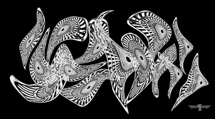 Black & White Nebulous Horozontal 72x40 B&w.