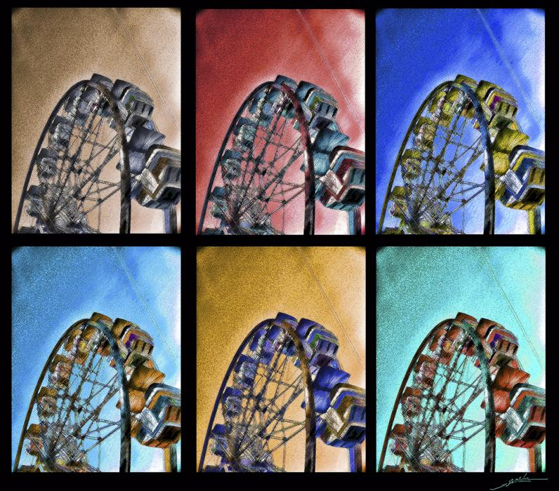 Ferris Wheel Cp. Priced unmated and unframed scanned, hand colored digitally limited edition of 10 per size price unmated unframed. All images are Limited editions on and are Giclee Print. A certificate is supplied with each sold giclee print, that provides information about Copyright ownership, print title, size, media, number in the limited edition, edition size, release date, printer name, etc. The certificate gives you a guaranty of museum quality standards and fine art value.