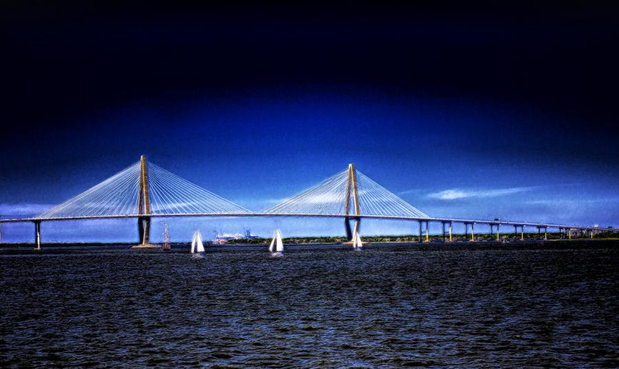 : Arthur Ravenel Jr Bridge, Charleston, SC. All images are copyrighted. Original work reproduced on archival Giclee Print Limited edition of 50 .EACH SIZE A certificate is supplied .All are roled and shipped in a special cardboard container for protection shipping add $9<br /><br />all images are pieced unmated and unframed