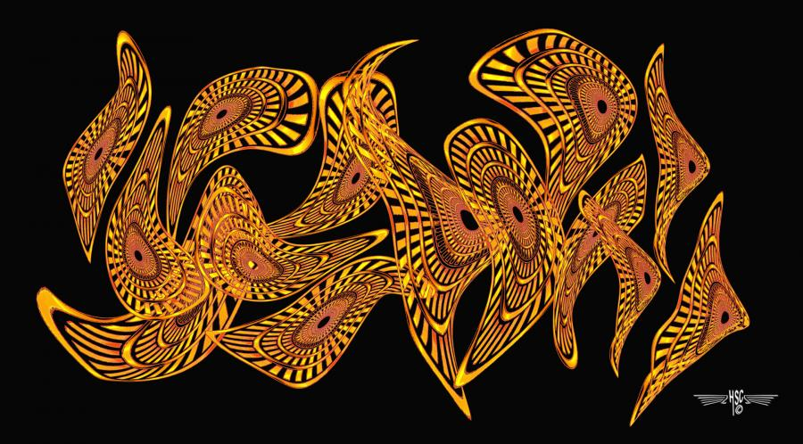 Orange Nebulous Horozontal 72x40 4. Hand Drawn scanned, hand colored digitally <br /><br />Priced unmated and unframed<br />Left hand corner Copyright not part of the finished limited edition of 10 price unmated unframed. All images are Limited editions on and are Giclee Print. A certificate is supplied with each sold giclee print, that provides information about Copyright ownership, print title, size, media, number in the limited edition, edition size, release date, printer name, etc. The certificate gives you a guaranty of museum quality standards and fine art value.<br />