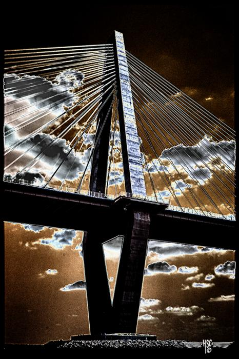 Arthur Ravenel Bridge. All images are copyrighted. Original work reproduced on archival Giclee Print Limited edition of 50 .EACH SIZE A certificate is supplied .All are roled and shipped in a special cardboard container for protection shipping add $9<br /><br />all images are pieced unmated and unframed