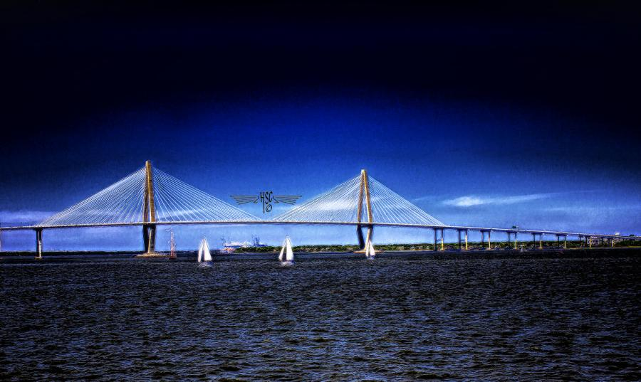 Ravenel Bridge Copyrighted. All images are copyrighted. Original work reproduced on archival Giclee Print. A certificate is supplied .All are roled and shipped in a special cardboard container for protection shipping add $9