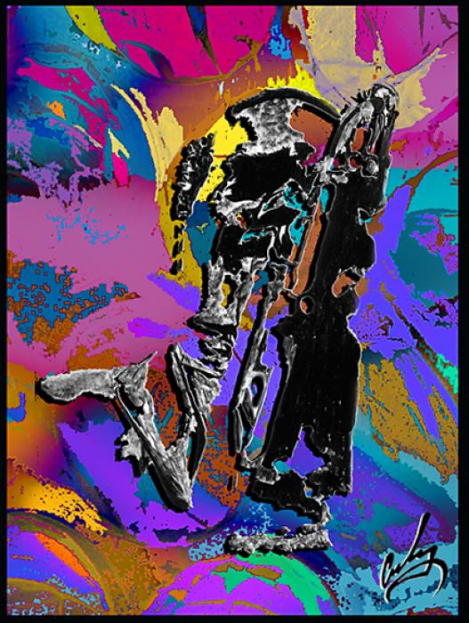 Sax Player. Priced unmated and unframed scanned, hand colored digitally limited edition of 10 per size price unmated unframed. All images are Limited editions on and are Giclee Print. A certificate is supplied with each sold giclee print, that provides information about Copyright ownership, print title, size, media, number in the limited edition, edition size, release date, printer name, etc. The certificate gives you a guaranty of museum quality standards and fine art value.